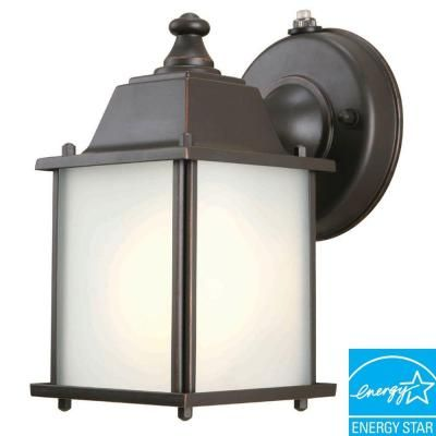 Hampton Bay Wall Mount 1 Light Outdoor Oil Rubbed Bronze Dusk To Dawn Lantern Bpm1691p The Home Depot