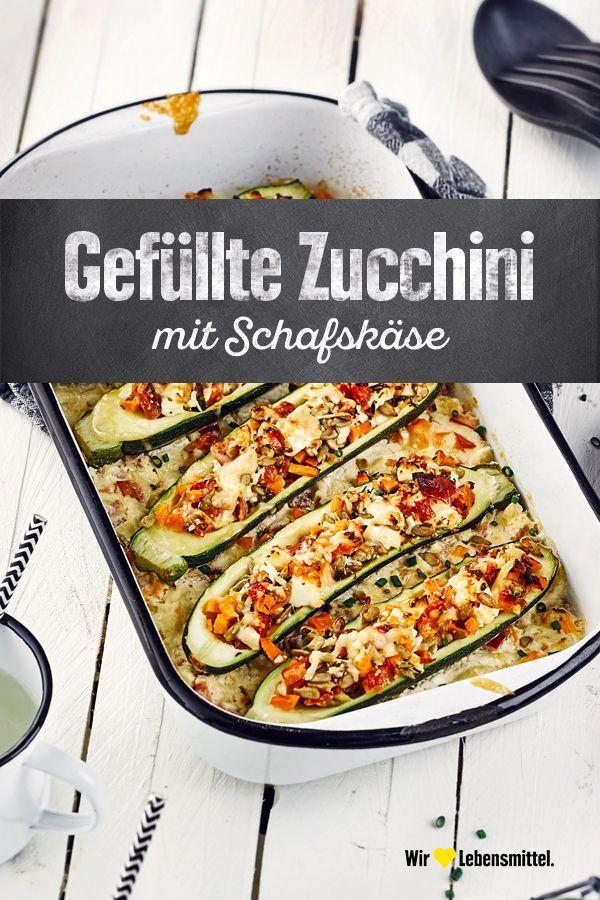 Gefüllte Zucchini #vegetarischerezepteschnell