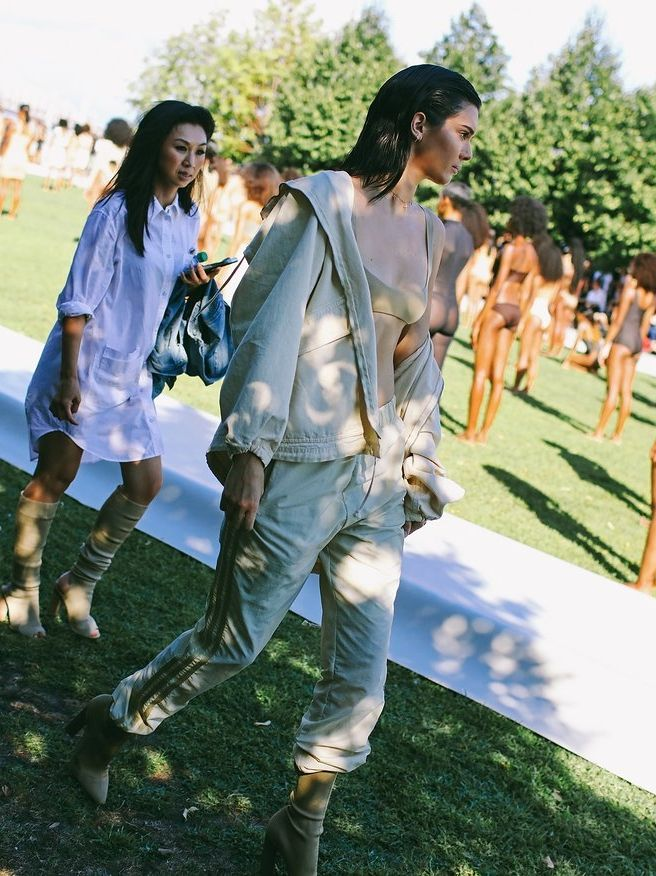 Kendall Jenner in Yeezy at the Yeezy Season 4 show at New York Fashion Week. Photographed by Phil Oh.