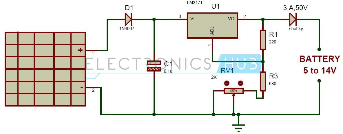 Solar Battery Charger Circuit Using Lm317 Voltage Regulator Battery Charger Circuit Solar Battery Solar Battery Charger