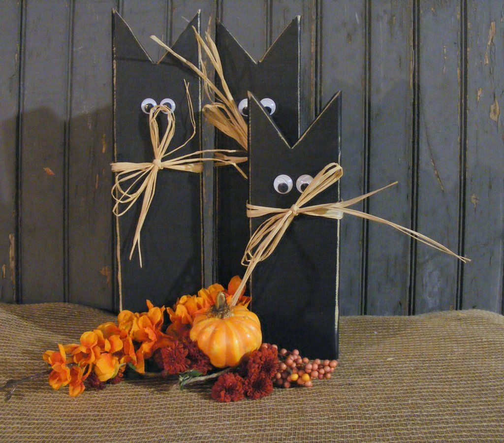 Primitive Black Cat, Halloween Decoration Cat decor, Black cats