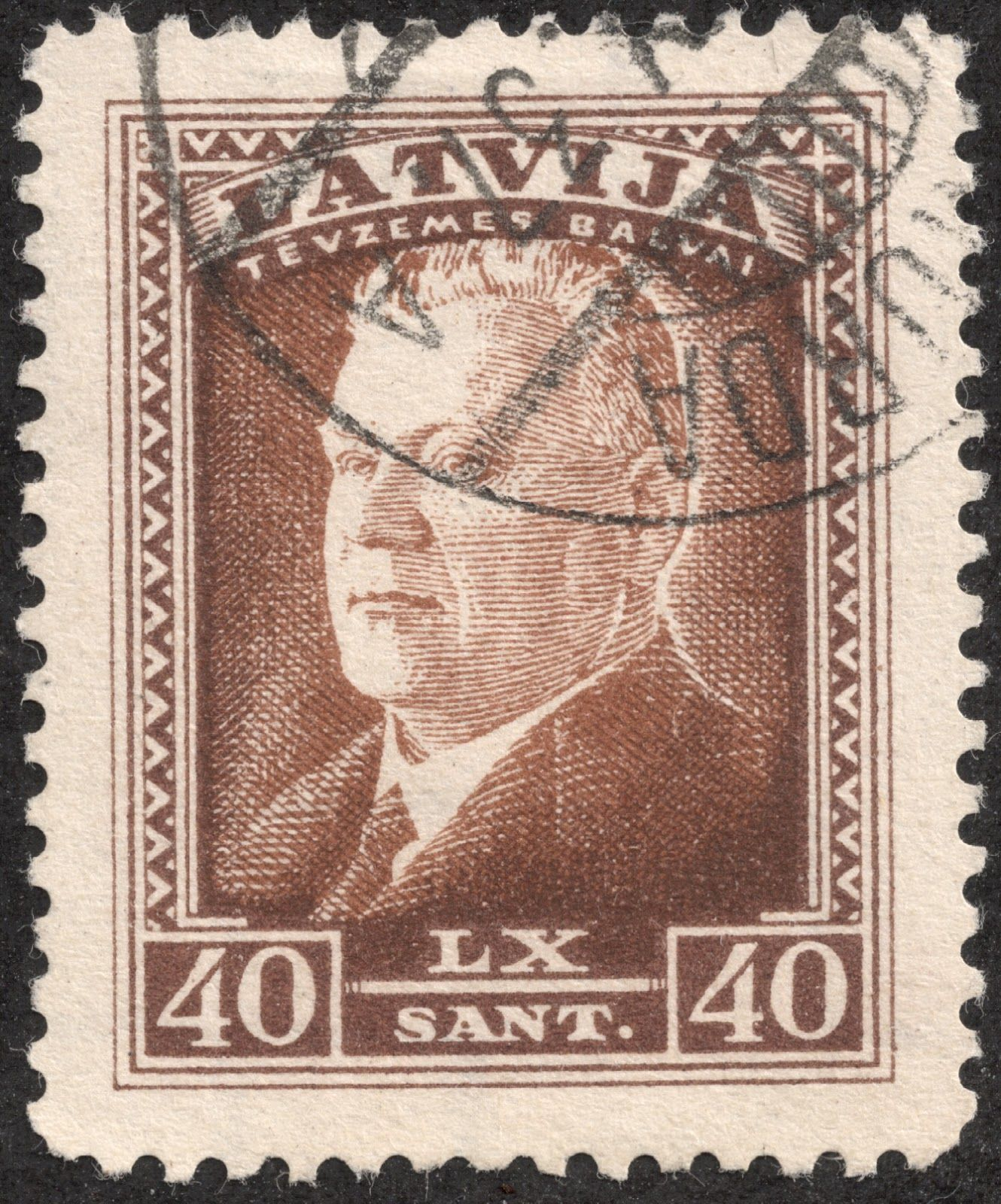 """Scan_Latvia 1937 Scott 191 40s light brown """"President Karlis Ulmanis"""" In 1937, a nine stamp set was released with a portrait of President Ulmanis, in honor of his 60th birthday."""