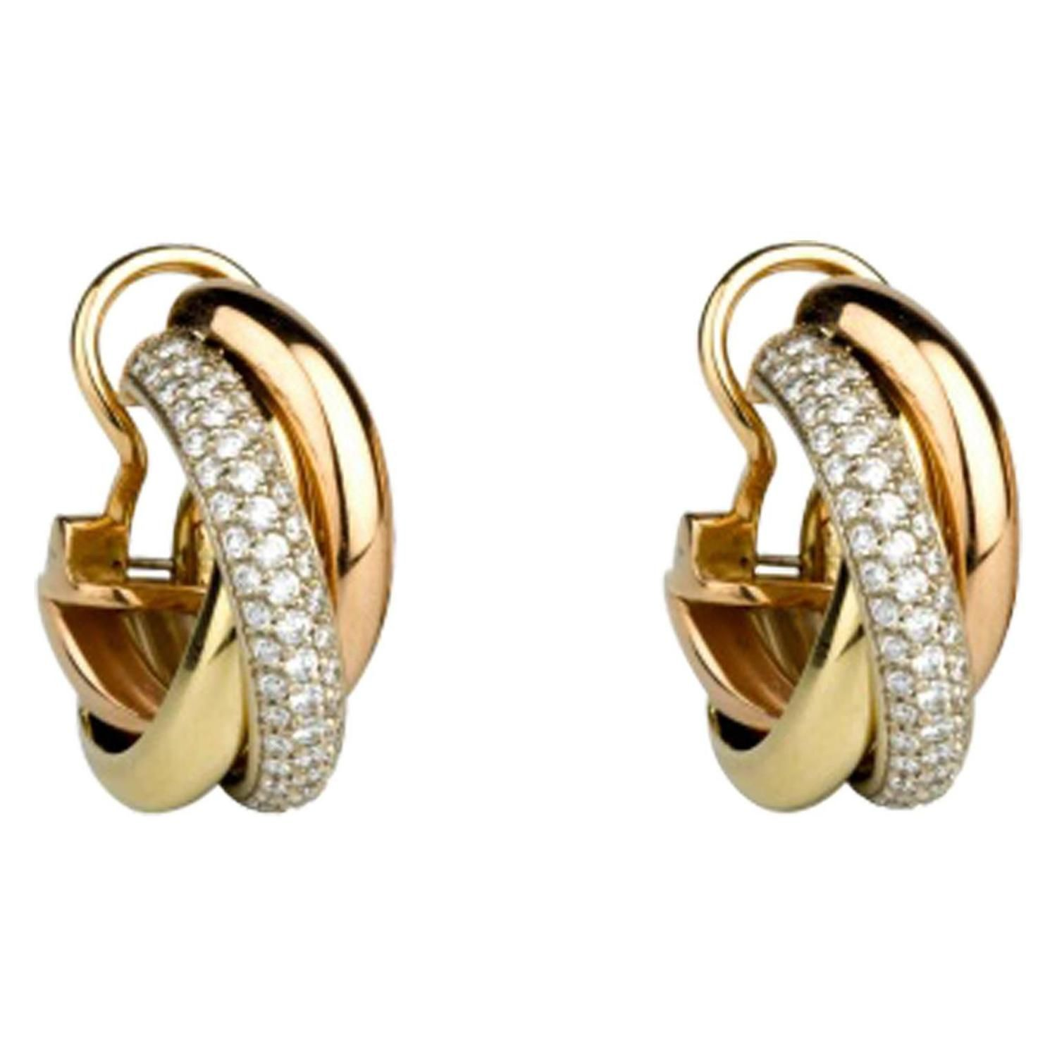 cartier earrings jewelry estate free watches trinity today shipping de product three gold overstock tone