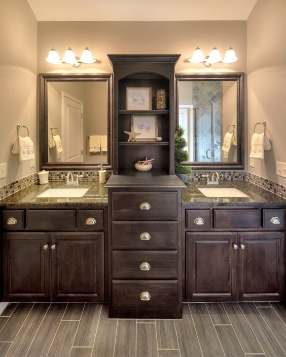 Two Floor To Ceiling Cabinets Sink Between