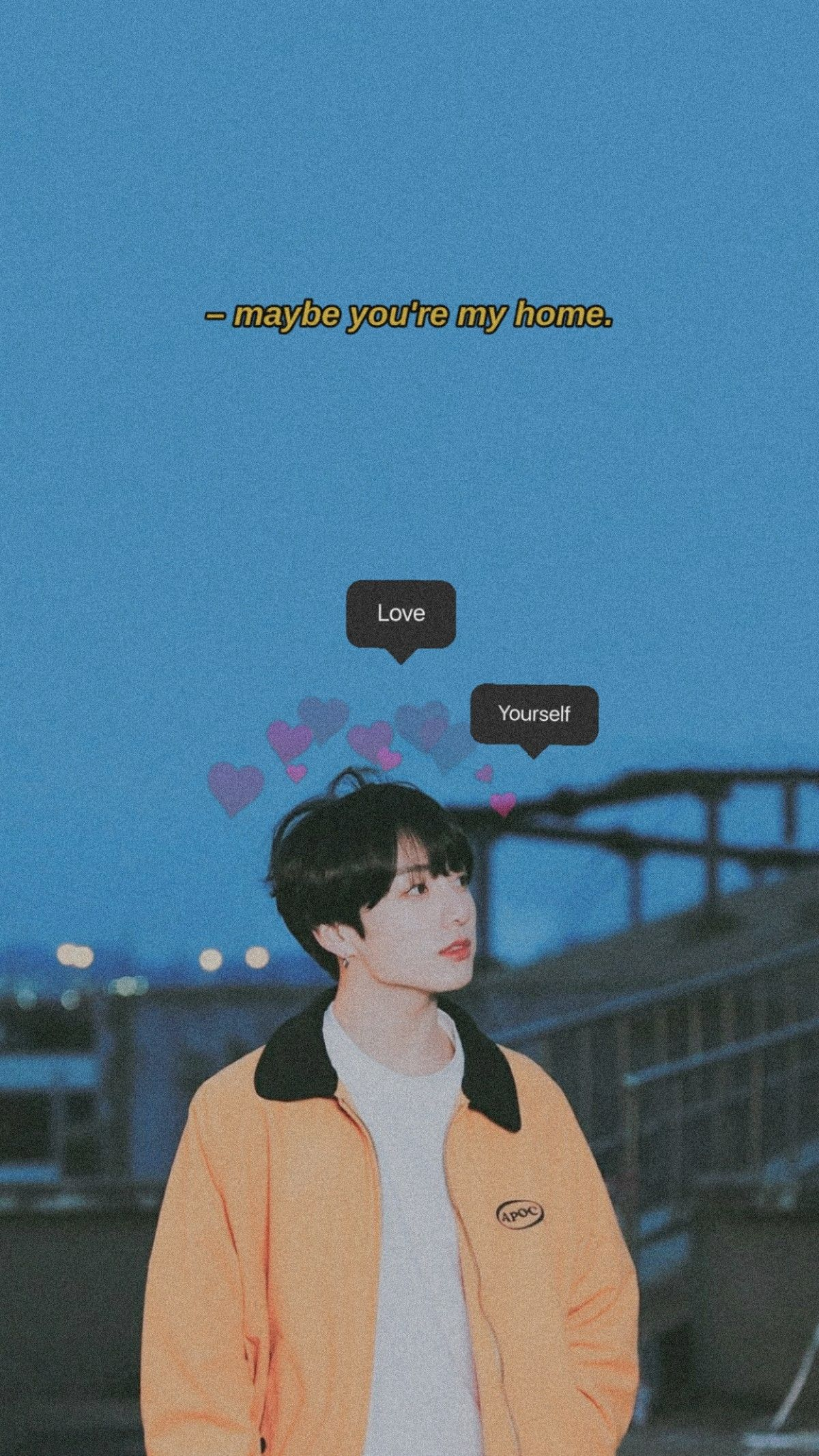 Jungkook Wants U To Love Yourself Blue Wallpaper Iphone Blue Aesthetic Bts Wallpaper