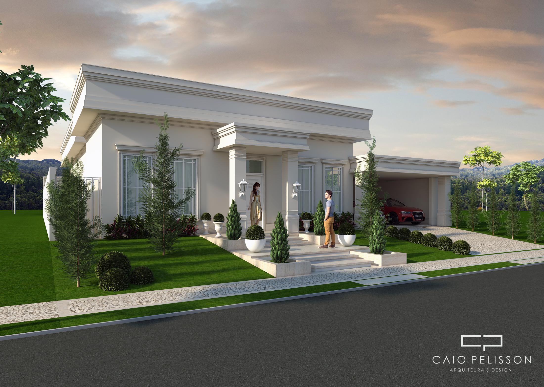 Projeto de casa terrea com fachada neoclassica casas Casa clasica moderna