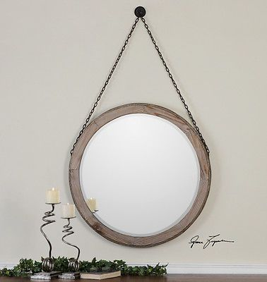 Rustic Round Wood Wall Mirror Hanging Chain Large 34\