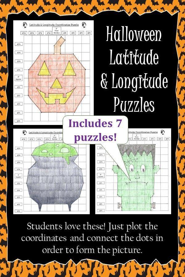 Photo of Latitude and Longitude Practice Puzzle Halloween Bundle,  #Bundle #FarmasiMascarabeforeandaft…