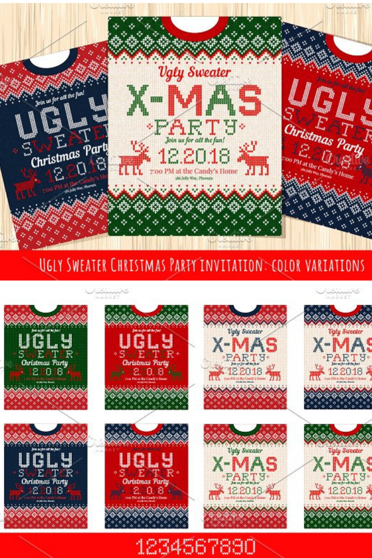5635c901f8e8a 8 Merry Christmas Х-mas Party Invitation cards with knitted patterns and  ornaments in scandinavian