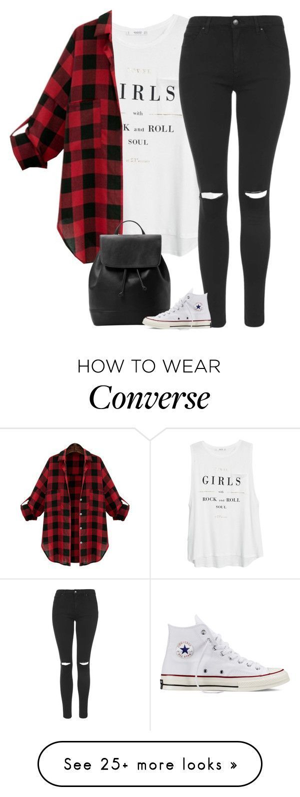 Back To School Hairstyles : Angel by fanny483 on Polyvore featuring MANGO, Topshop and Converse #backtoschool