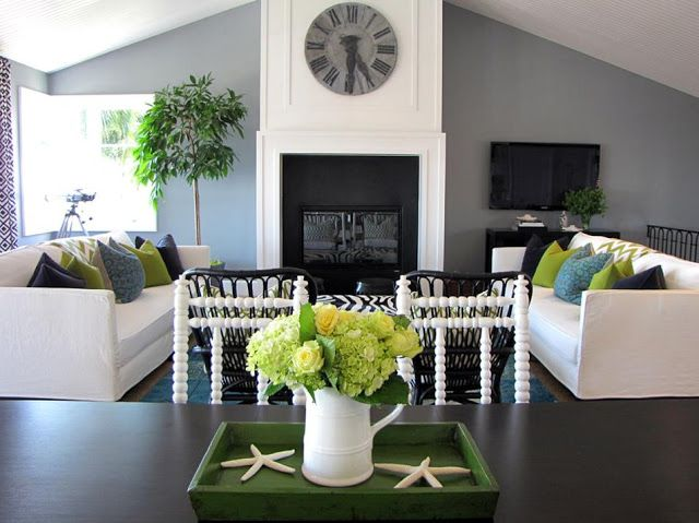 Modern Grey And White Living Room With Blue Green Accents