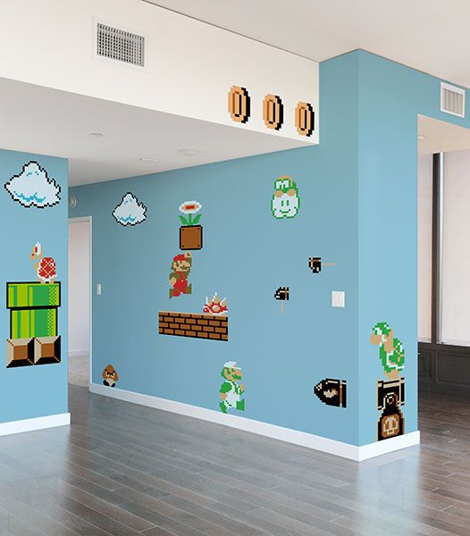 Super Mario Bros Wall Graphics Take My Paycheck Shut Up And Take My Money The Coolest Gadgets Electronics Geeky Stuff And More Mario Room