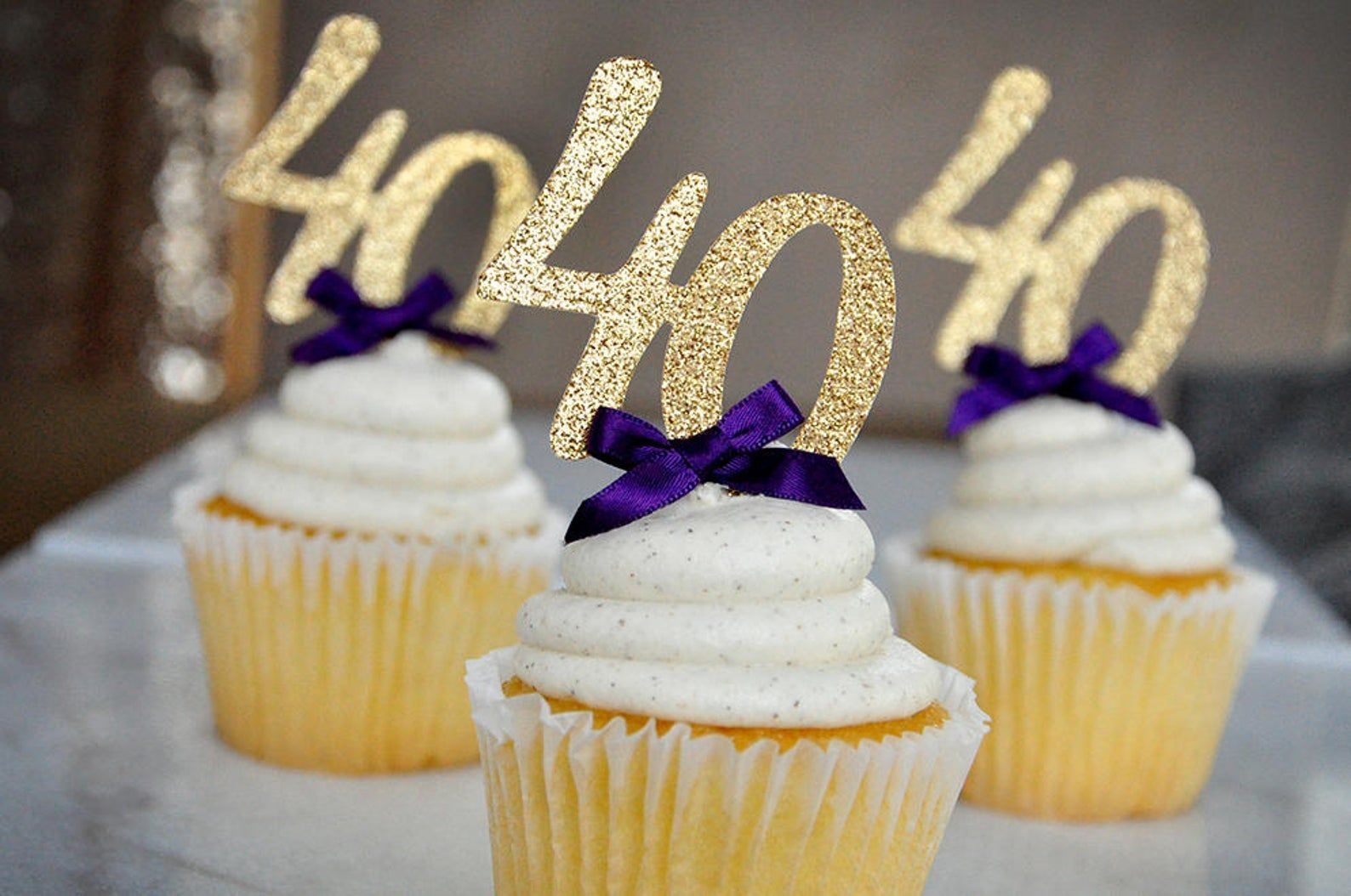 40th birthday party decor glitter gold number 40