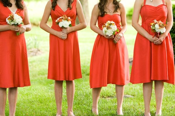 tangerine bridesmaid dresses