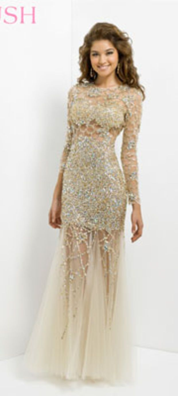 Preorder blush prom dresses gold u nude tulle long sleeve