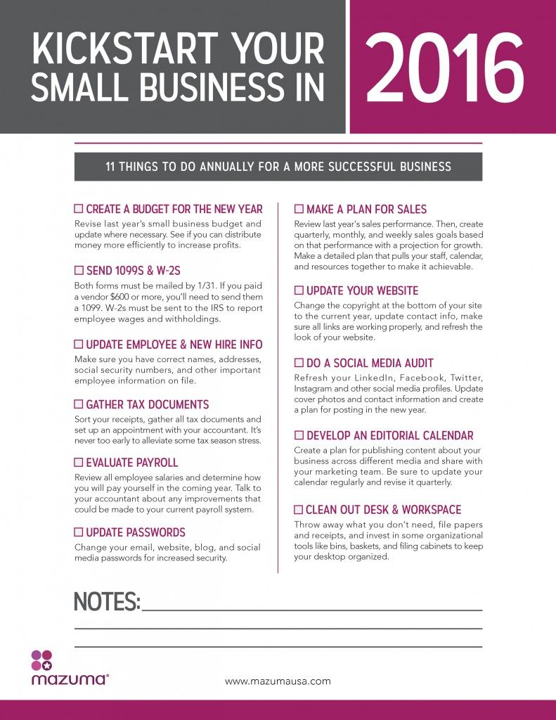 Kickstart Your Small Business in 2016 11 Things To Do