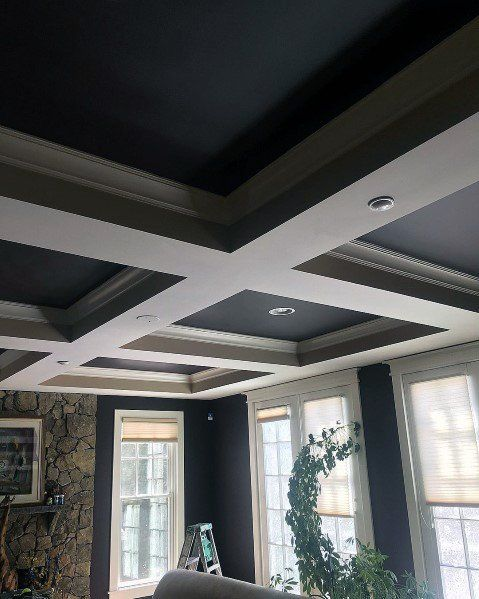 Cool Sunken Living Room Ideas For Your Dreamed House: Top 50 Best Coffered Ceiling Ideas - Sunken Panel Designs