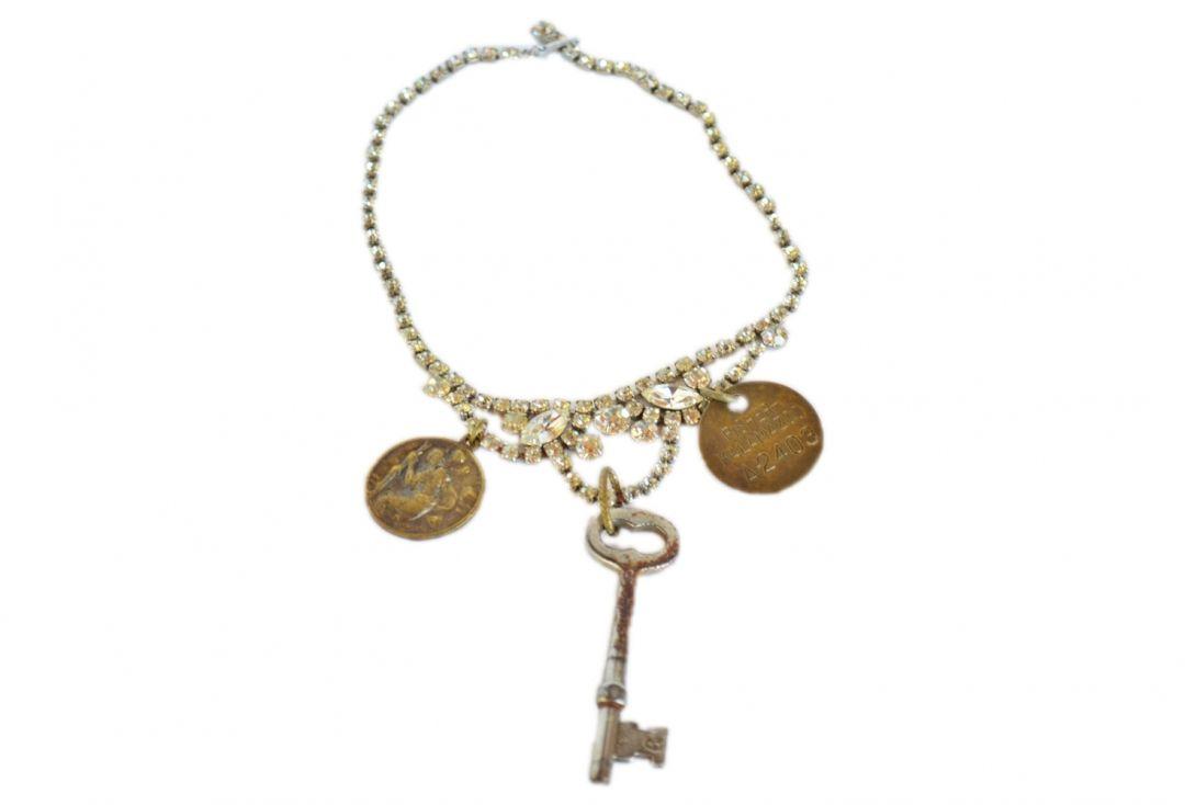 Rhinestone Bling Rusty Tag Key Necklace