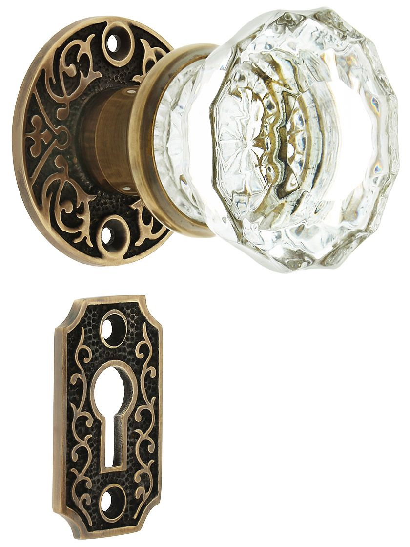 Scroll Rosette Mortise Lock Set With Fluted Glass Door Knobs In Antique  By Hand