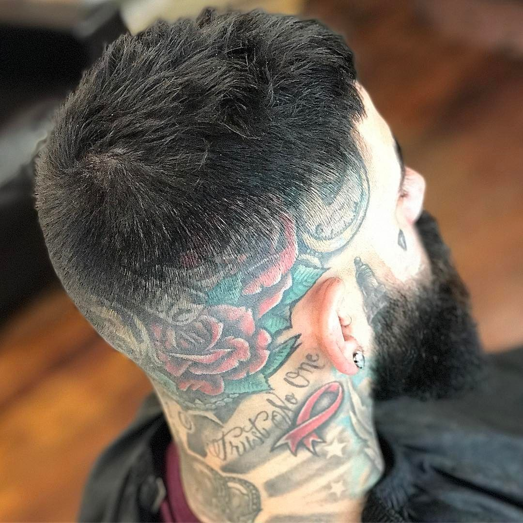 men haircuts with head tatto