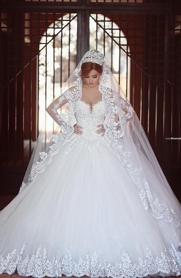 $249 Long Sleeves Lace Ball Gown Wedding Dresses Chapel