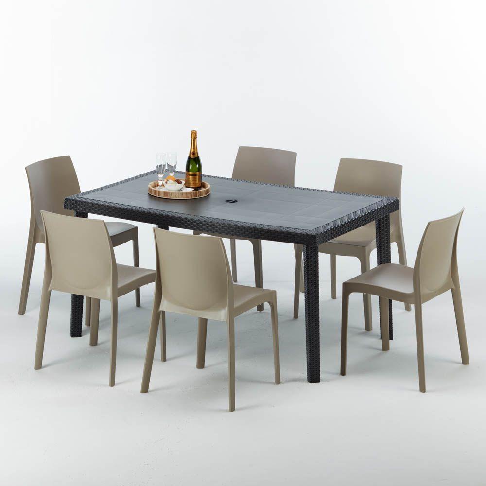 Tavolo Giardino Rattan Offerte.Tavolo Rettangolare Con 6 Sedie Rattan Sintetico Giardino Colorate