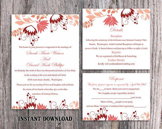 Diy Wedding Invitation Template Set Editable Word File Inst Diy Wedding Invitations Templates Wedding Invitation Templates Instant Download Wedding Invitations