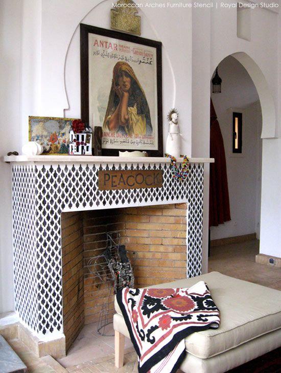 faux tile stencil ideas for a fireplace surround royal design studio