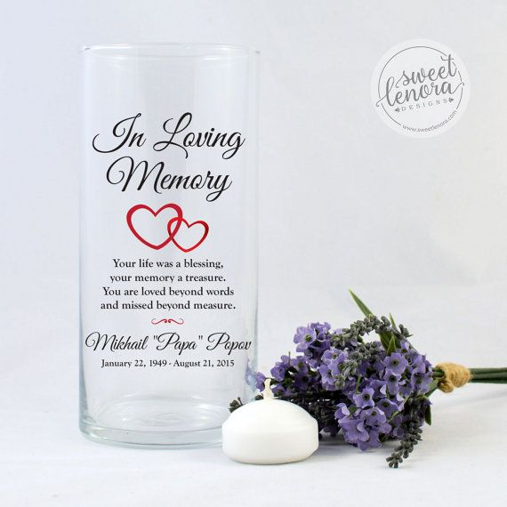 Memorial Candle Vase Heart Floating Candle In A Custom Glass Vase