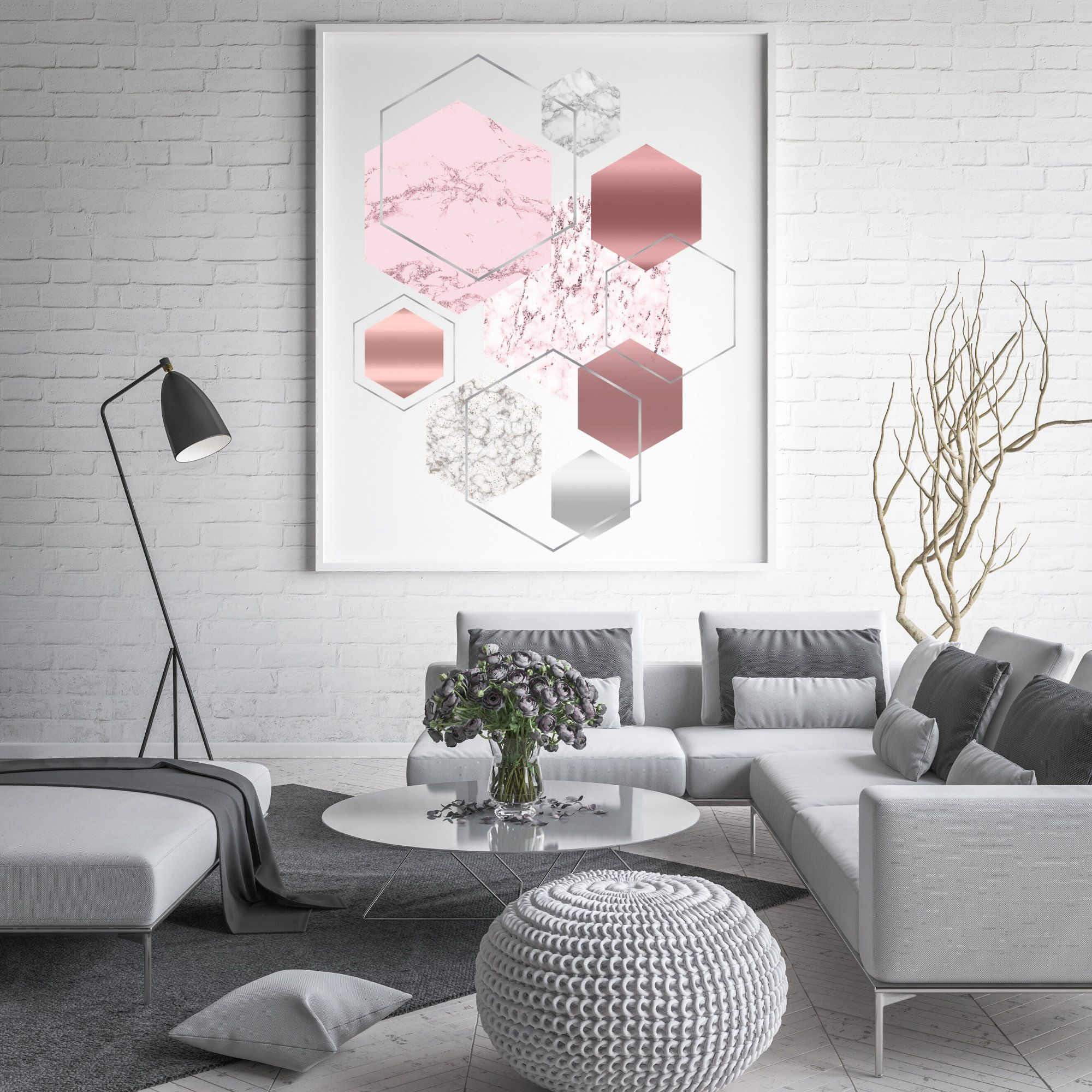 Blush Pink Marble Modern Wall Artsilver And Pink Geometric Etsy Geometric Wall Art Pink Geometric Wall Pink Wall Art