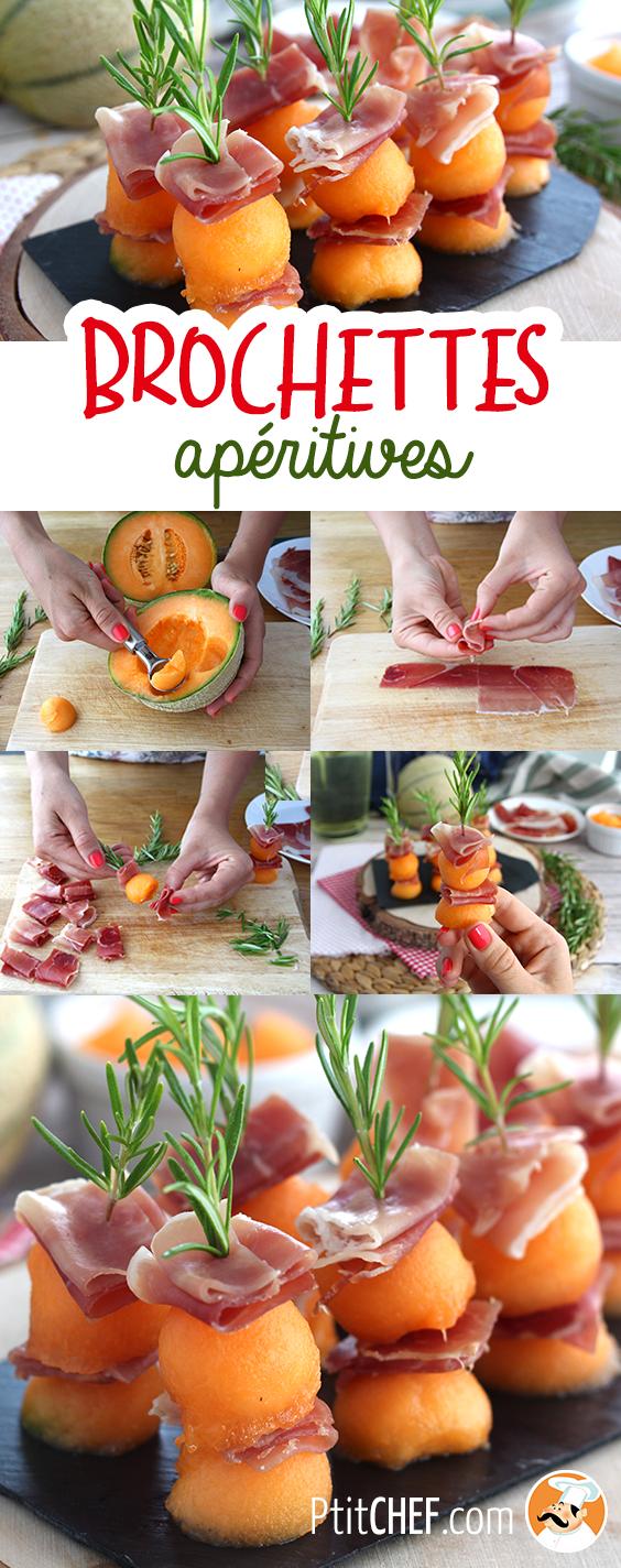Brochettes apéritives melon, jambon, romarin