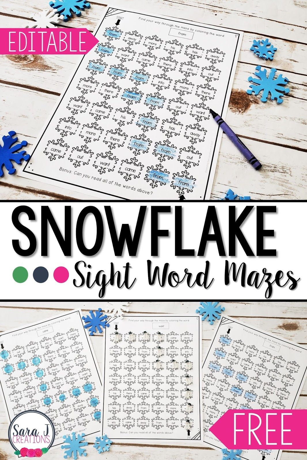 Winter Snowflake Editable Sight Word Mazes