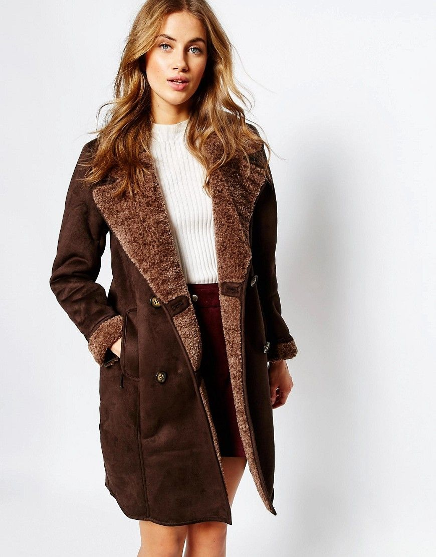 Image 1 of Pull&Bear Chocolate Faux Shearling Coat | wishlist ...