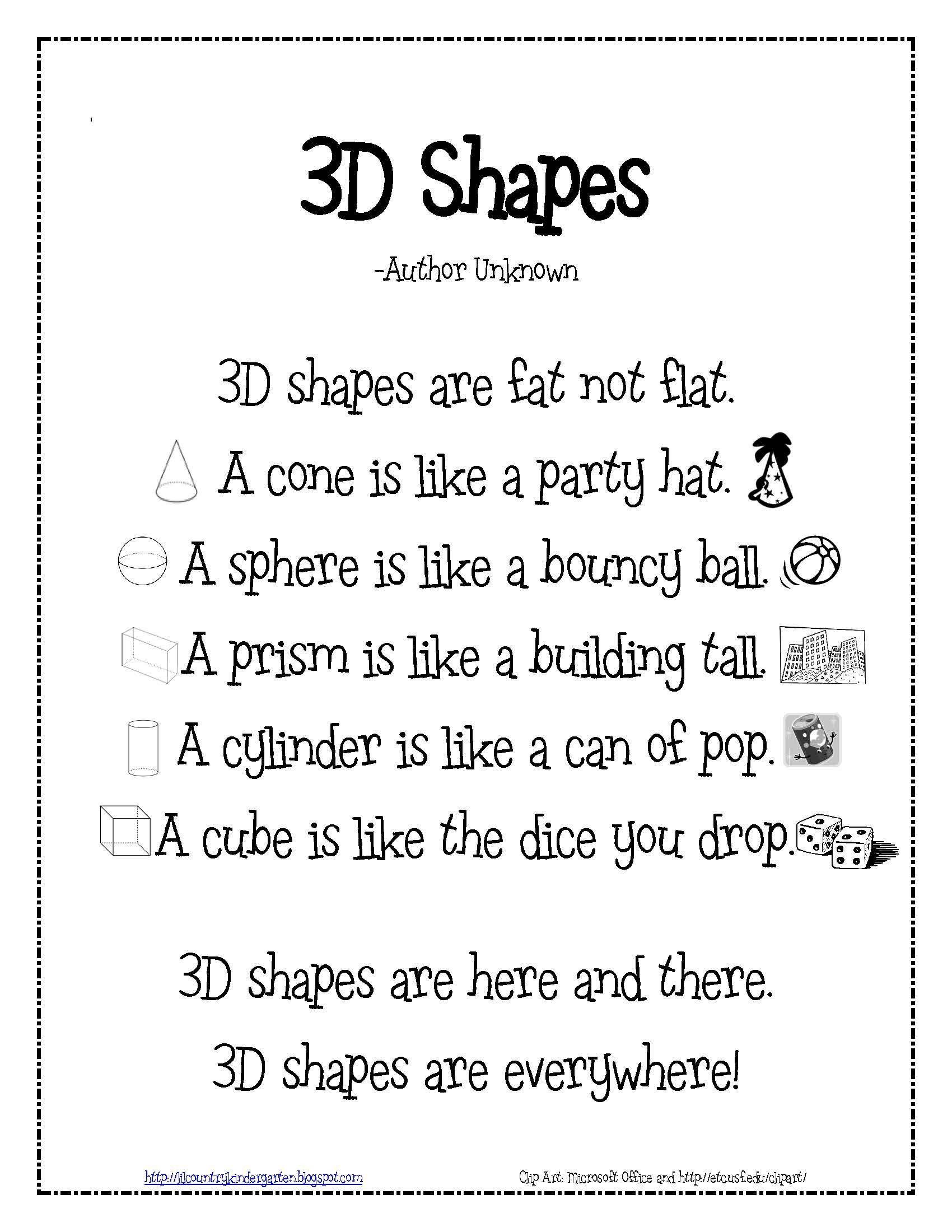 5 Vpk Math Worksheets 3d Shapes Poem For Teaching Math To