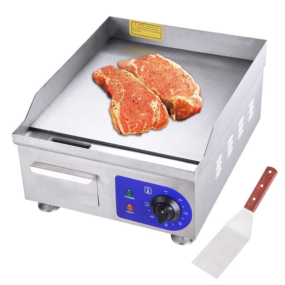 Details About 1500w 14 Electric Countertop Griddle Flat Top Commercial Restaurant Grill Bbq Electric Griddle Steel Restaurant Best Portable Grill