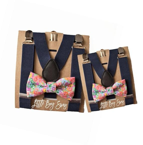 Cyber Monday Father/Grandpa Gift, Granddad/Dad Son Matching Blue Floral Bow Tie & Navy Suspenders, Daddy Son Twinning, Toddler-Adult Bow Tie #grandpagifts