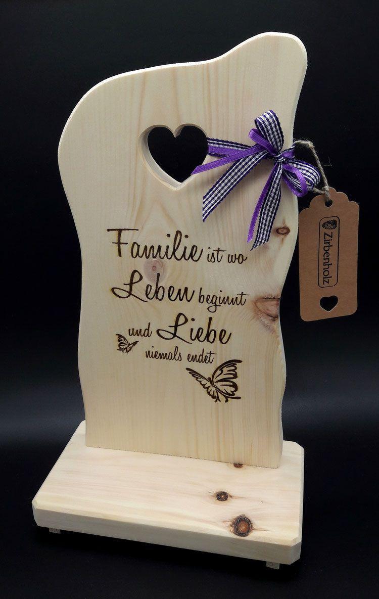 Zirben Holz Schild Familie Geschenke Aus Holz Hochzeitsgeschenke Holz Zirben