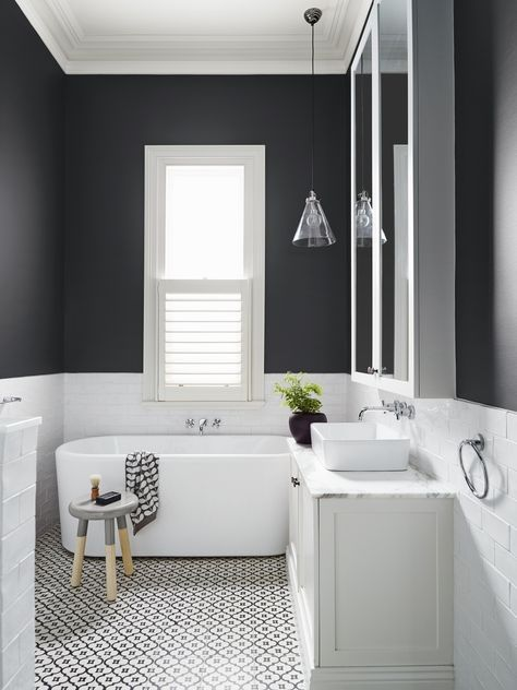 In Love With This Bathroom! White Subway Tile, Statement Floor Tiles From  Jatana Interiors, Dulux U0027Dominou0027 Wall Colour, Stone Vanity Top And A Big  Window To ...