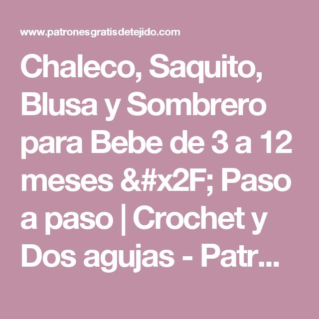 Chaleco, Saquito, Blusa y Sombrero para Bebe de 3 a 12 meses / Paso a paso | Crochet y Dos agujas - Patrones de tejido