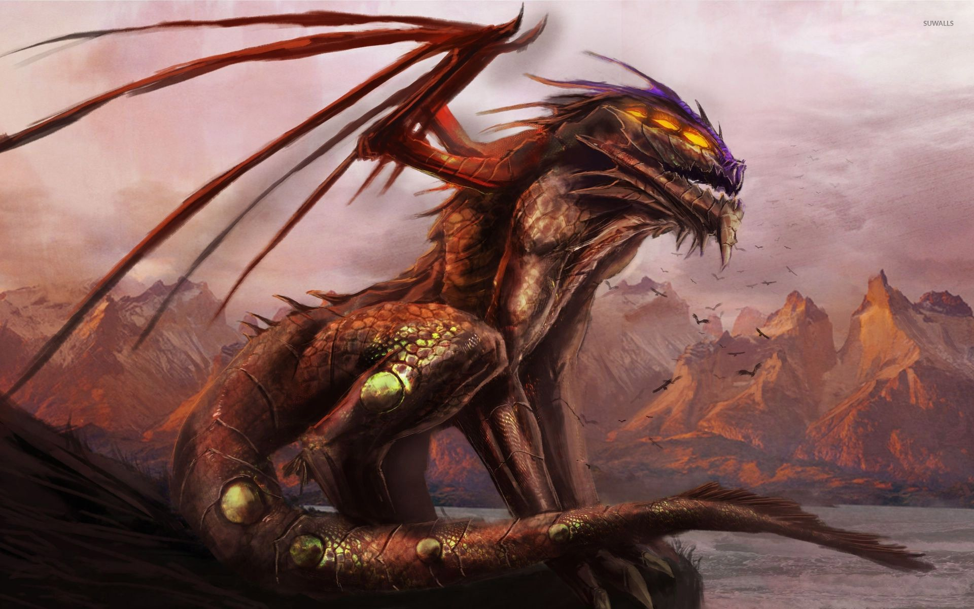 Scary dragon on the cliff wallpaper Dragons Pinterest