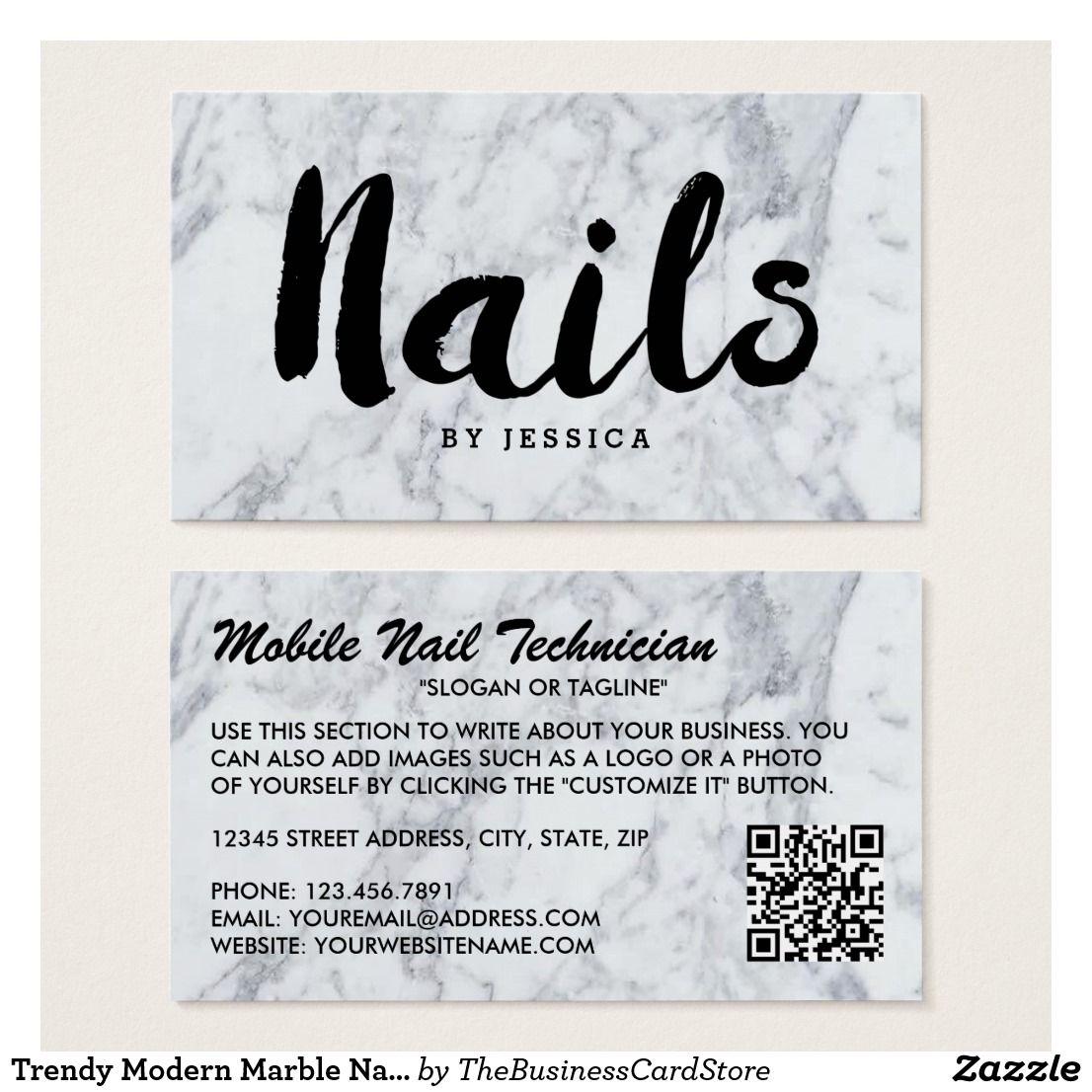 Trendy Modern Marble Nail Technician Business Card   Pinterest ...