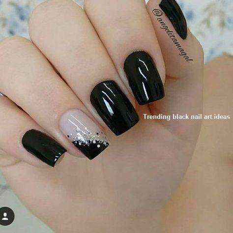 20 Simple Black Nail Art Design Ideas Blacknails Trendy Nails Nails Sencillas Manicure
