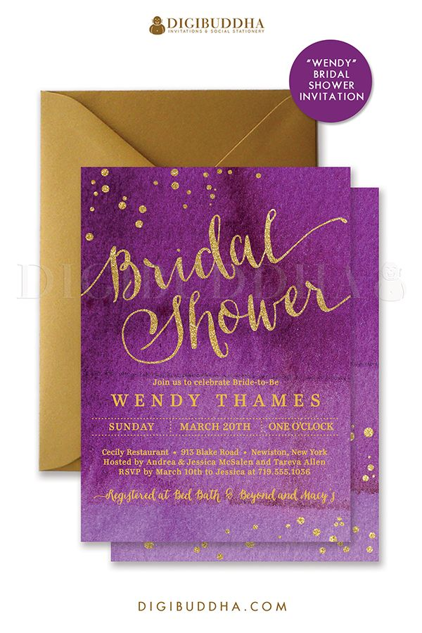 Chic and elegant purple ombre watercolor and gold bridal shower invitations with modern calligraphy script, gold glitter accents and confetti sprinkles in the corners. Choose from ready made printed invitations with envelopes or printable bridal shower invitations. Silver shimmer envelopes also available. digibuddha.com