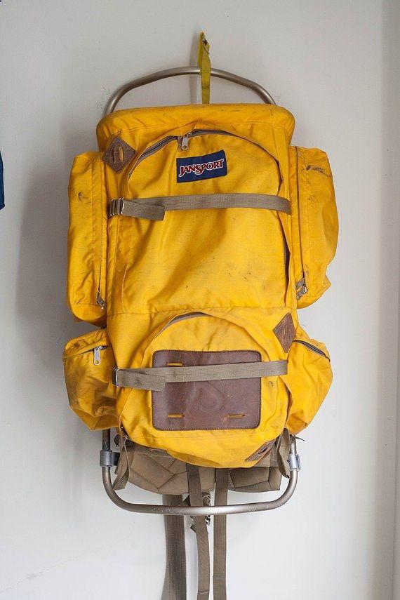 Camping Backpack - Large Yellow Jansport External Frame Hiking ...