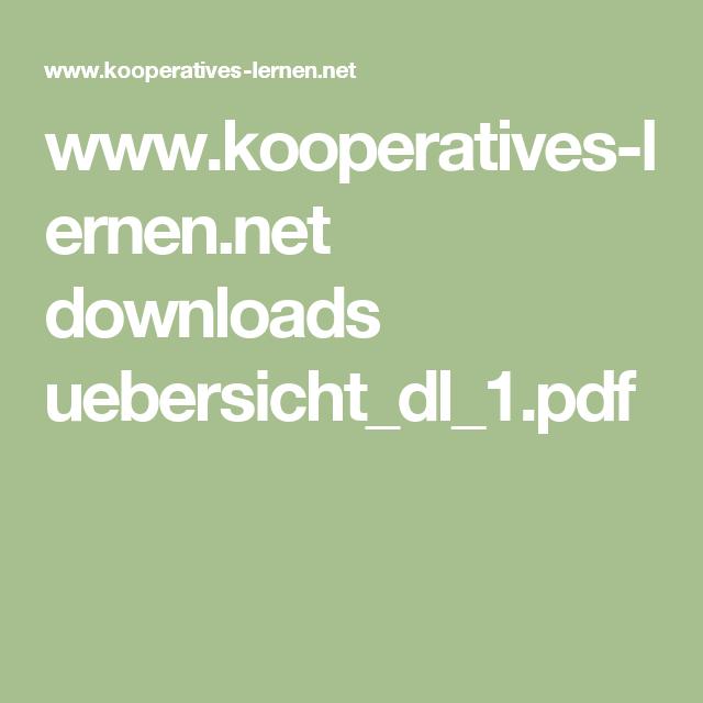 www.kooperatives-lernen.net downloads uebersicht_dl_1.pdf | School ...