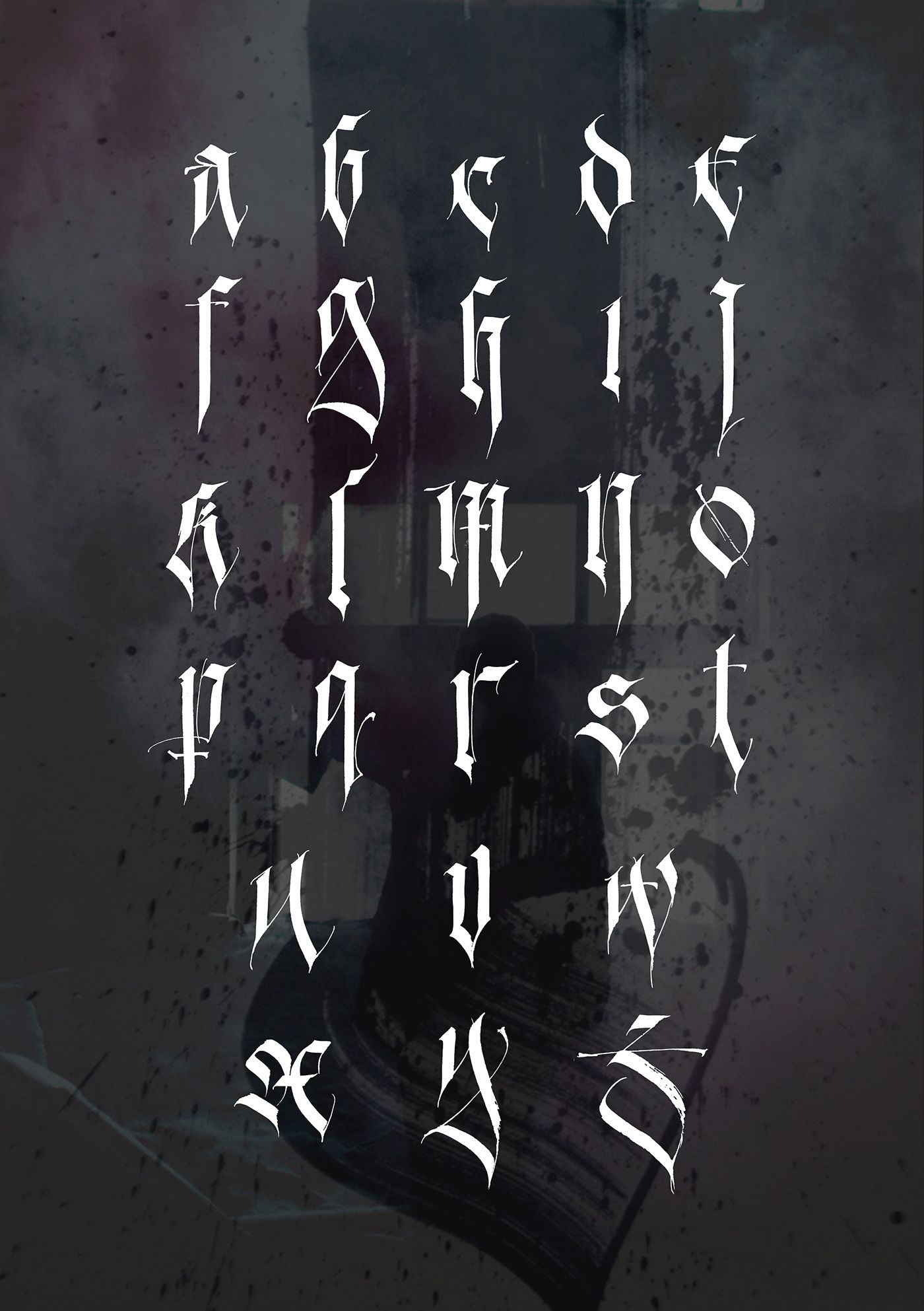 Im proud to present my personal gothic alphabet. It is based on Fraktur. A lot of glyphs are transformed and renewed. Enjoy!