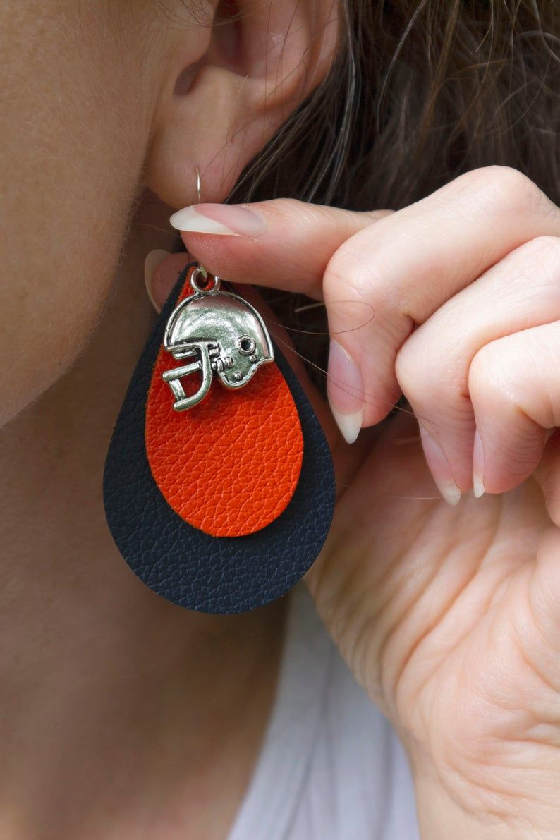 Football earrings leather earrings with football helmet
