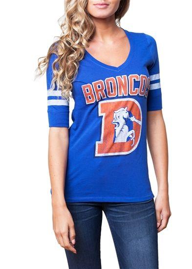 f58b47a4 Denver Broncos Womens Half Sleeve Vintage Vneck | Denver broncos ...
