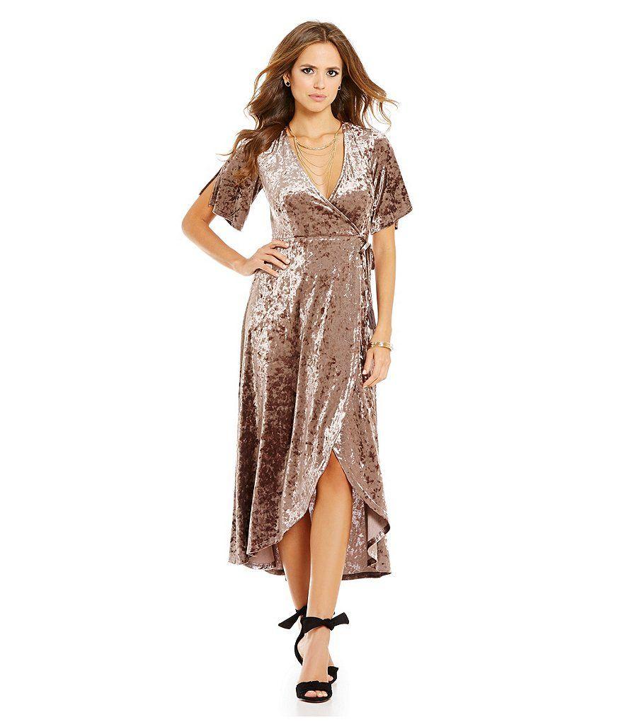 7dcd46dfbc Gianni Bini Fan Fav Marche Velvet Wrap Short Sleeve Dress