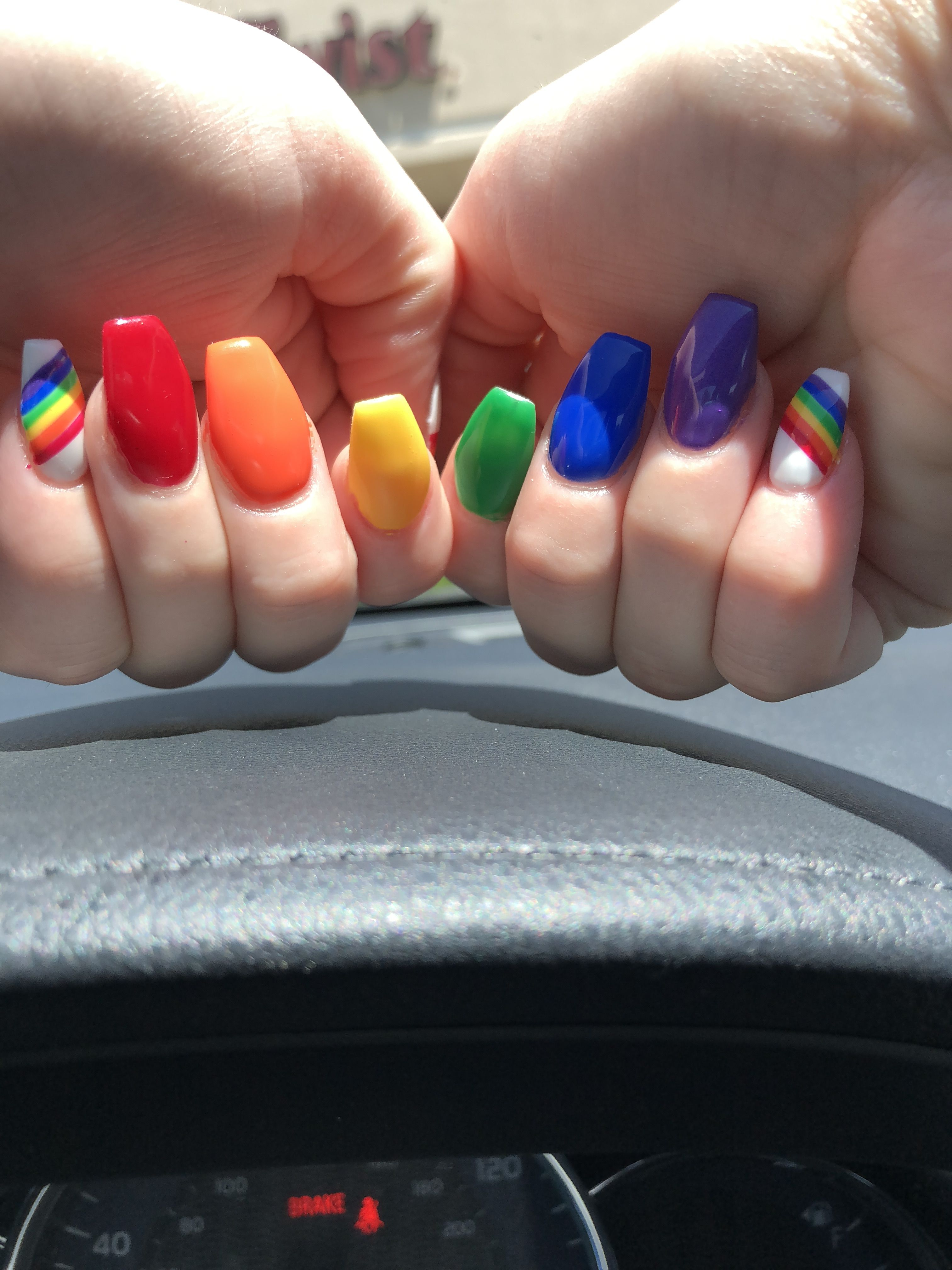 Pride Nails Done At Helen S Nails In Colorado Springs Rainbow Nails Design Rainbow Nails Rainbow Nail Art